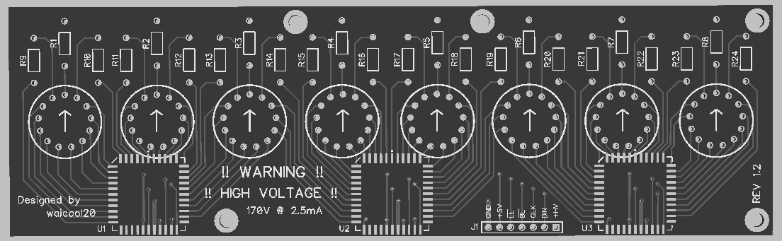 A 3D model generated by Diptrace of the Divergence Meter Nixie Board